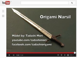 How to make an origami Sword (Narsil Sword) - YouTube